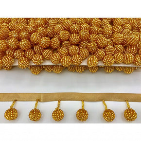 "Trimplace Gold 1-1/4"" Beaded Ball Fringe"