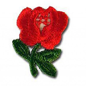 "RED ROSE PRESS-ON APPLIQUE 3/4"" X 1"""