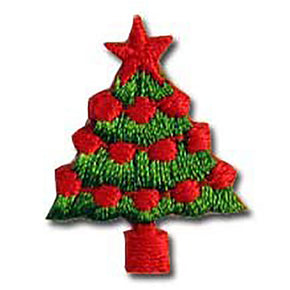 "CHRISTMAS TREE PRESS-ON APPLIQUE 3/4"" X 1"""