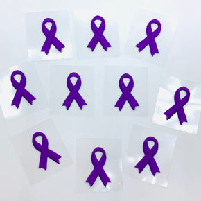 "Purple 1-1/8"" X 3/4"" Self Adhesive Awareness Bow Embroidered Applique - 10 Pieces"