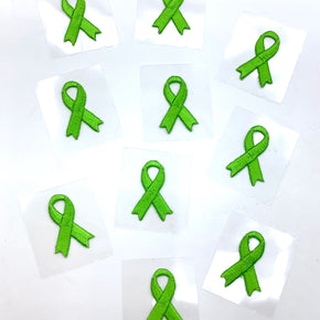 "Green 1-1/8"" X 3/4"" Self Adhesive Awareness Bow Embroidered Applique - 10 Pieces"