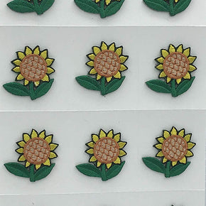 Trimplace Sunflower Press-ON Applique- 1inch x 1 inch - 12 Pieces