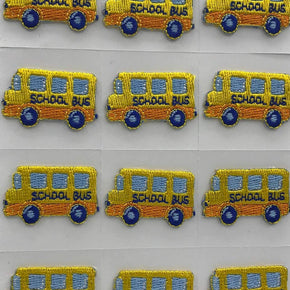 Trimplace School Bus Press-ON Applique- 1-1/4 inch x 3/4 inch - 12 Pieces