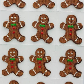 Trimplace Gingerbread Man Press-ON Applique- 1 inch x 1-3/8 inch - 12 Pieces