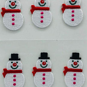 Trimplace Snowman Press-ON Applique- 1 inch x 1-5/8 inch - 12 Pieces