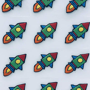 Trimplace Rocket Ship Press-ON Applique- 3/4 inch x 1-1/4 inch - 12 Pieces