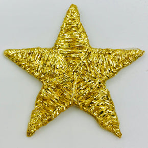 "Trimplace Gold 1-5/8"" Heat Seal Star Applique - 25 Pieces"