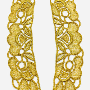 "Gold Metallic Venice Lace Collar (8"" High X 1-3/4"" Wide) - 3 Pairs"