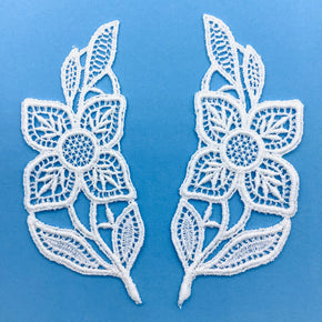 "White Vintage Venice Lace Applique Flower (4-1/2"" H X 2"" W) - 4 Pairs"