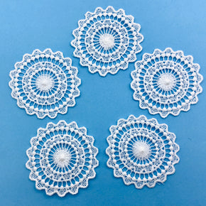 "White Venice Lace Circle Applique 2"" Across - 5 Pieces"