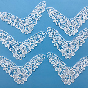 "White Venice Lace Applique (5"" Across X 1-3/4"" High) - 6 Pieces"