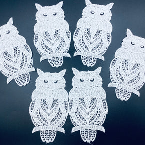 White Vintage Venice Owl Lace Applique 100% Cotton