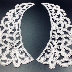 "White Vintage Venice Lace Collar Pair (7"" High X 2-3/4"" Wide)- 3 Pairs"