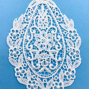 "White Venice Lace Applique (5-1/4"" H X 3-1/2"" W) 6 Pieces"