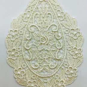 "Natural Venice Lace Applique (5-1/4"" H X 3-1/2"" W) - 6 Pieces"