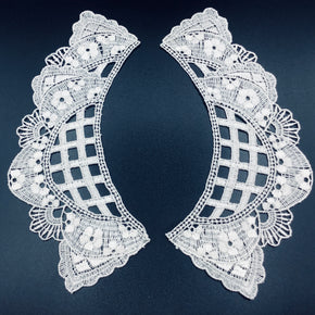 "White Venice Lace Lattice Collar (7"" High X 2-3/4"" Wide) - 3 Pairs"