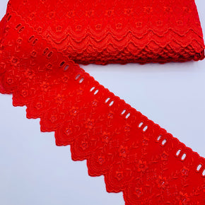"Red 3-1/2"" Embroidered Edge with Eyelet Beading"