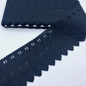 "Black 3-1/2"" Embroidered Edge with Eyelet Beading"