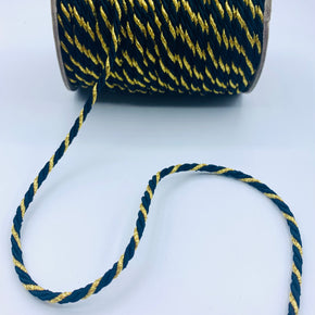 "Black/Gold 3/16"" Twist Cord"