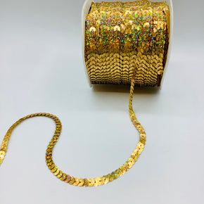 GOLD HOLOGRAM 1/4 INCH SLUNG SEQUIN