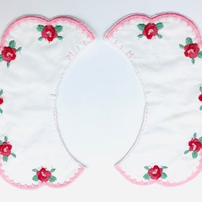"White Double Batiste Embroidered Collar with Pink Scallop Edge & Flowers (6"" H X 3"" W)"