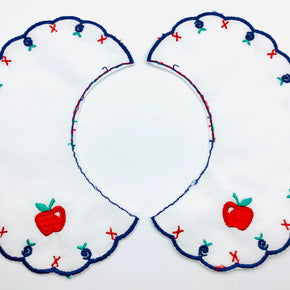 White Batiste Collar with Navy Scallop & Apple Motif