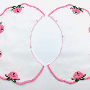 White Double Batiste Embroidered Collar with Pink Scallop Edge & Flowers