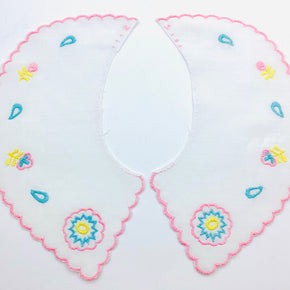 White Whimsical Batiste Collar with Lt. Pink Scallop