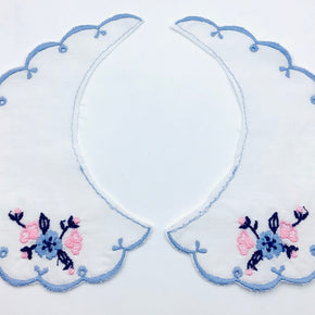 White Batiste Collar with Lt. Blue Scallop & Floral Bouquet
