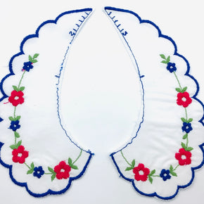 White Batiste Collar with Red & Royal Flowers