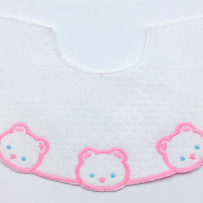 White Point D'Esprit Baby Yoke with Pink Cats & Aqua Eyes