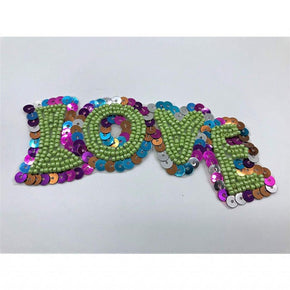 "Trimplace Sequin ""LOVE"" Applique 4 1/2"" wide x 2"" high"