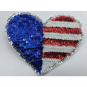 "Trimplace Sequin American Flag Heart Applique 5 1/2"" wide x 4 1/2"" high"