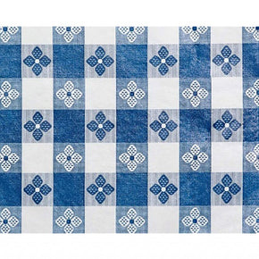 Trimplace (BLUE) 54 Inch Vinyl Tavern Check Fabric With Non Woven Flannel Back