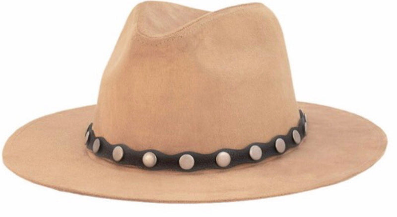 Stud Leather Hat- Tan