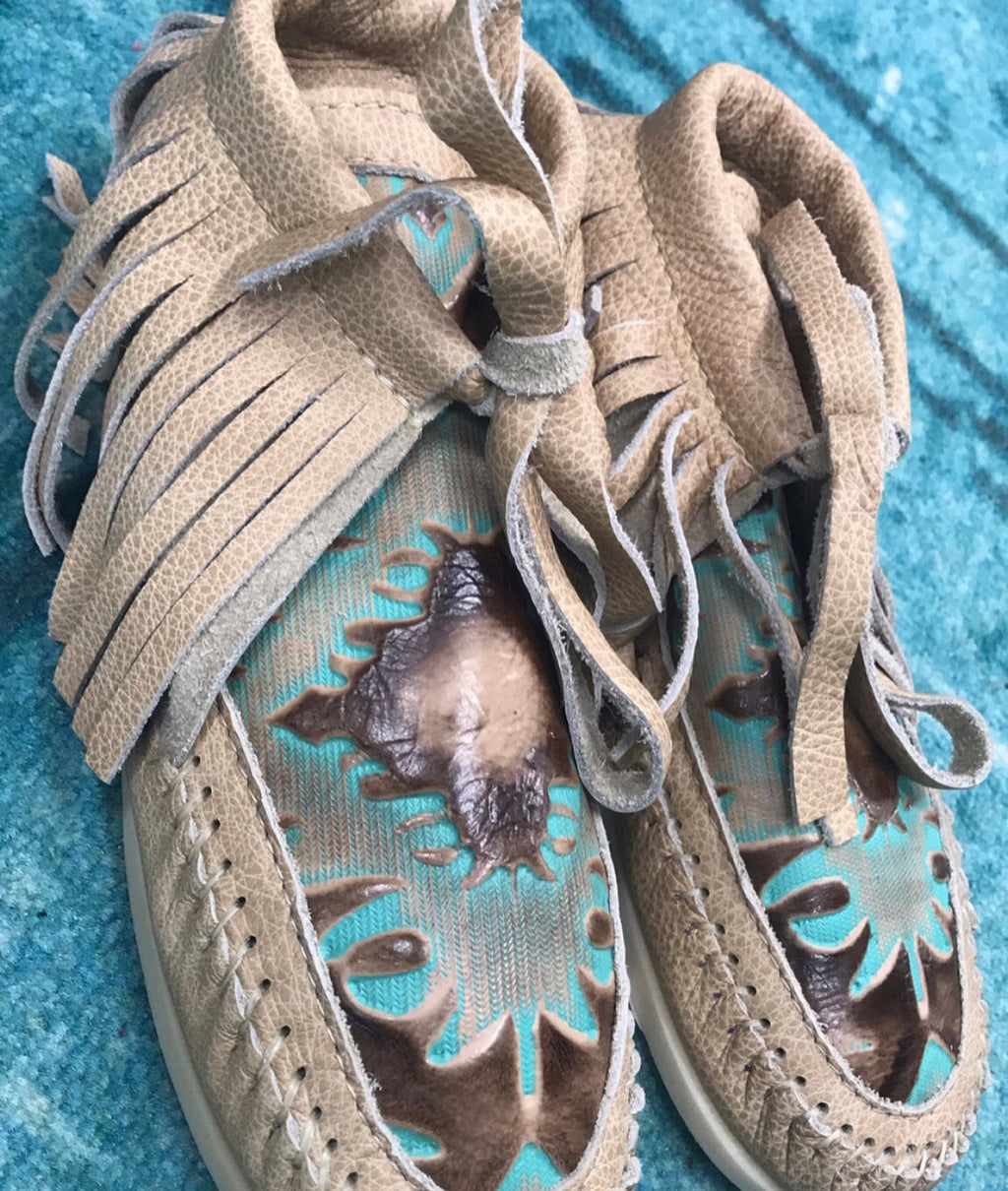 Lorec Ranch Blue Leather Moccasins