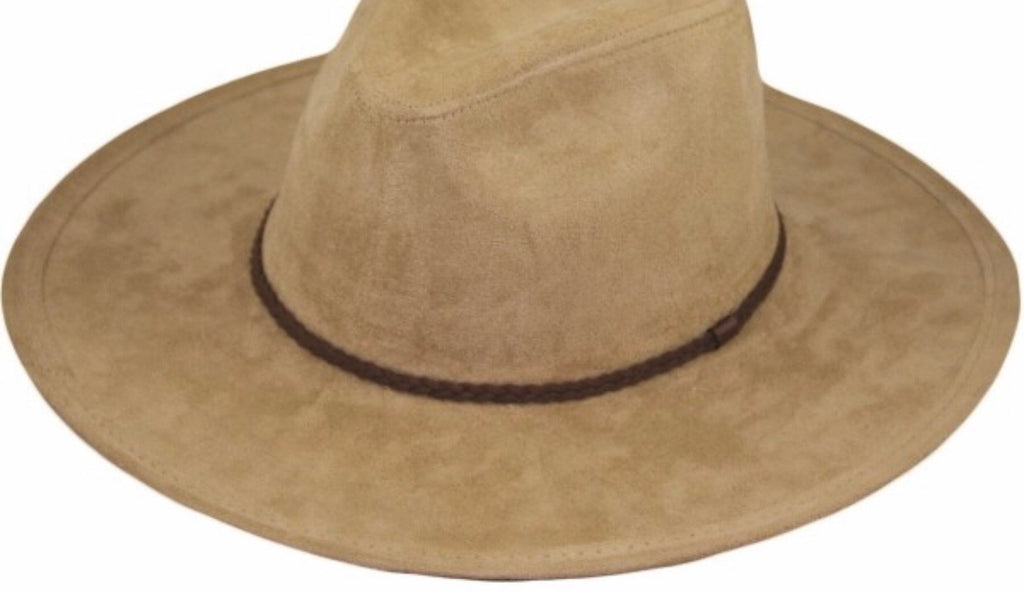 Rope Tied Suede Hat- Tan