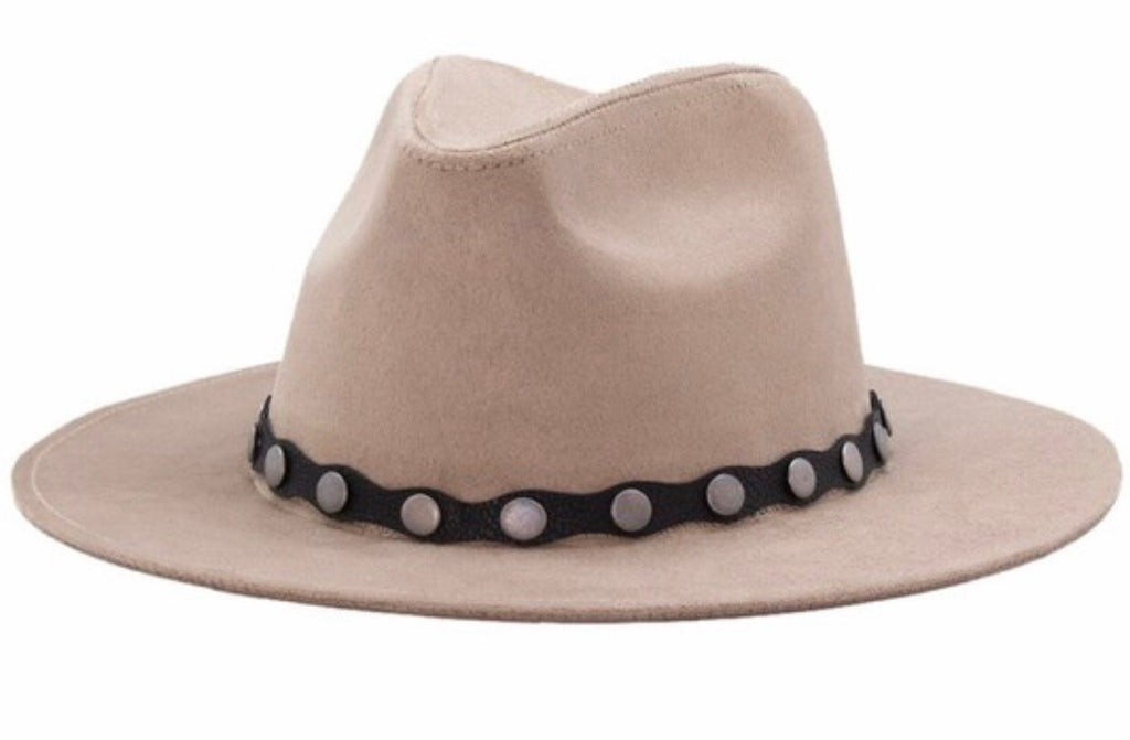 Stud Leather Hat-Taupe