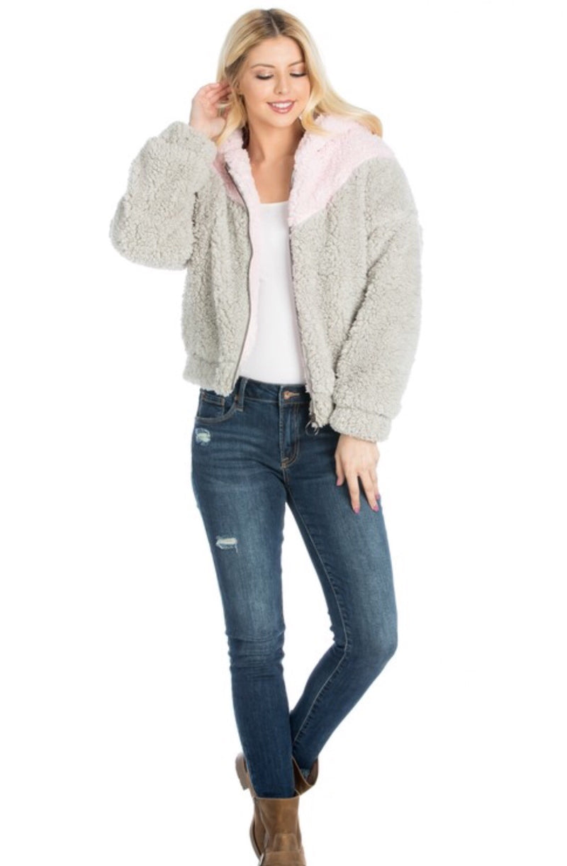 Pink and Gray Fur Jacket