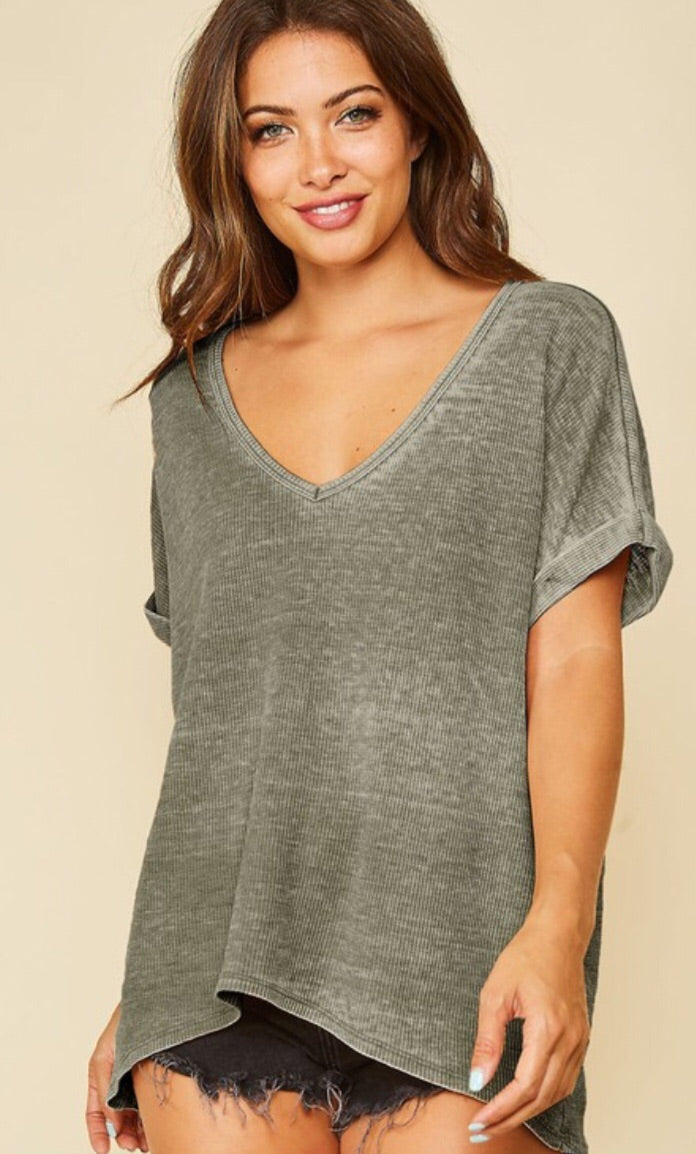 Thermal V-Neck Top - Green
