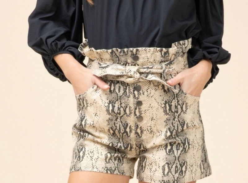 Snake Print Tied Shorts - in Taupe