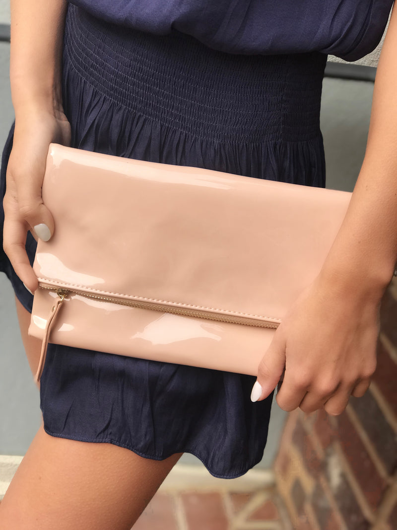 Blush Patent Clutch