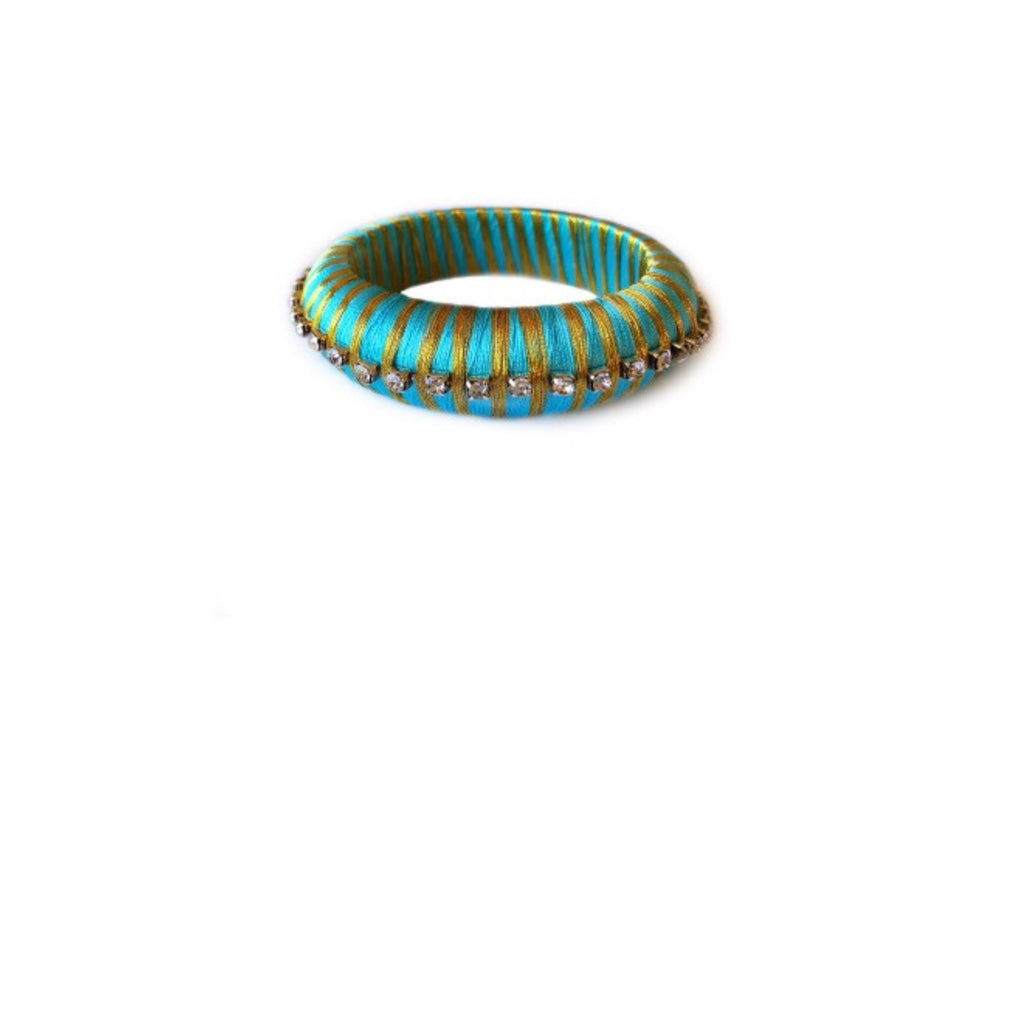Teal Silk Wrap Bangle