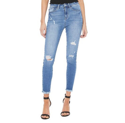 Distressed Jeans with Frayed Hem by Hidden Jeans