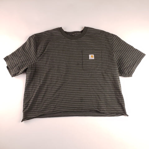 Charcoal and Gray Striped Carhartt Cropped Pocket T-Shirt Mens sz XL