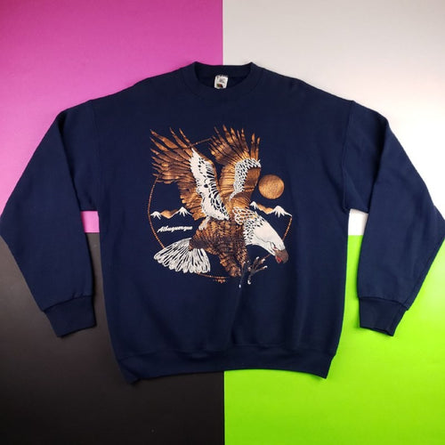 Vintage 80s Iridescent Bald Eagle Sweater Graphic Mens | L