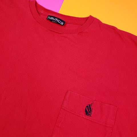 VIntage 90s NAUTICA Pocket Tee Red Mens XL