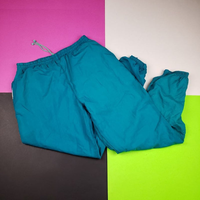 Vintage 90s Turquoise Retro Windbreaker Swooshie baggy pants Large