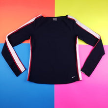 Load image into Gallery viewer, Nike Athletic colorblock track dri fit long sleeve shirt Womens Medium