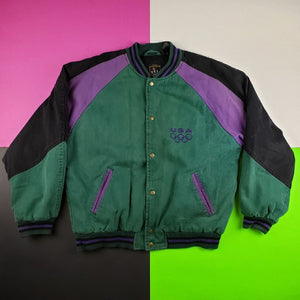 Vintage 1996 Atlanta USA Olympics Full embroidered colorblock varsity jacket Mens | XL
